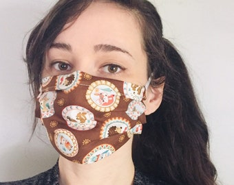 Woodland Creatures 100% Cotton surgical face mask sewn in reusable filter pocket FAST SHIPPING! Shipped First class and arrive within a week