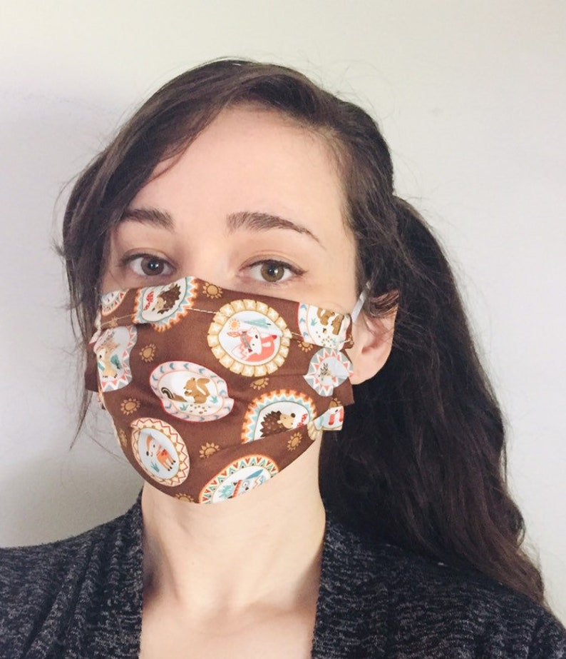 Woodland Creatures 100% Cotton surgical face mask sewn in image 0