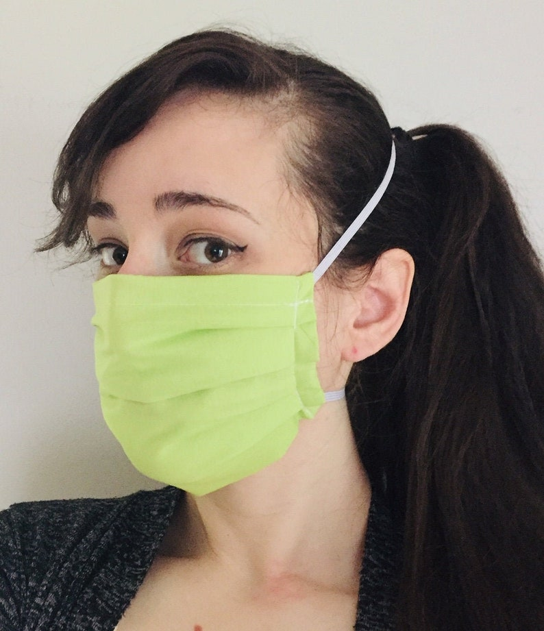 Solid Neon Green 100% Cotton surgical face mask w/ reusable image 0