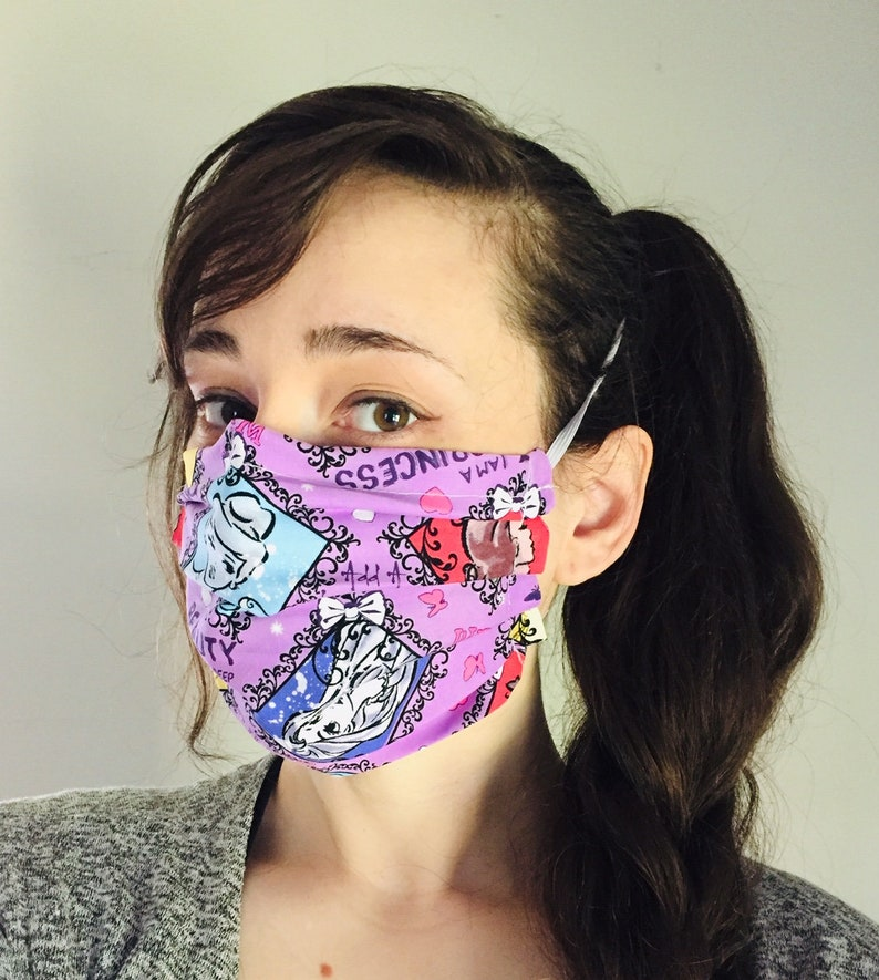 Disney Princesses 100% Cotton surgical face mask sewn in image 0