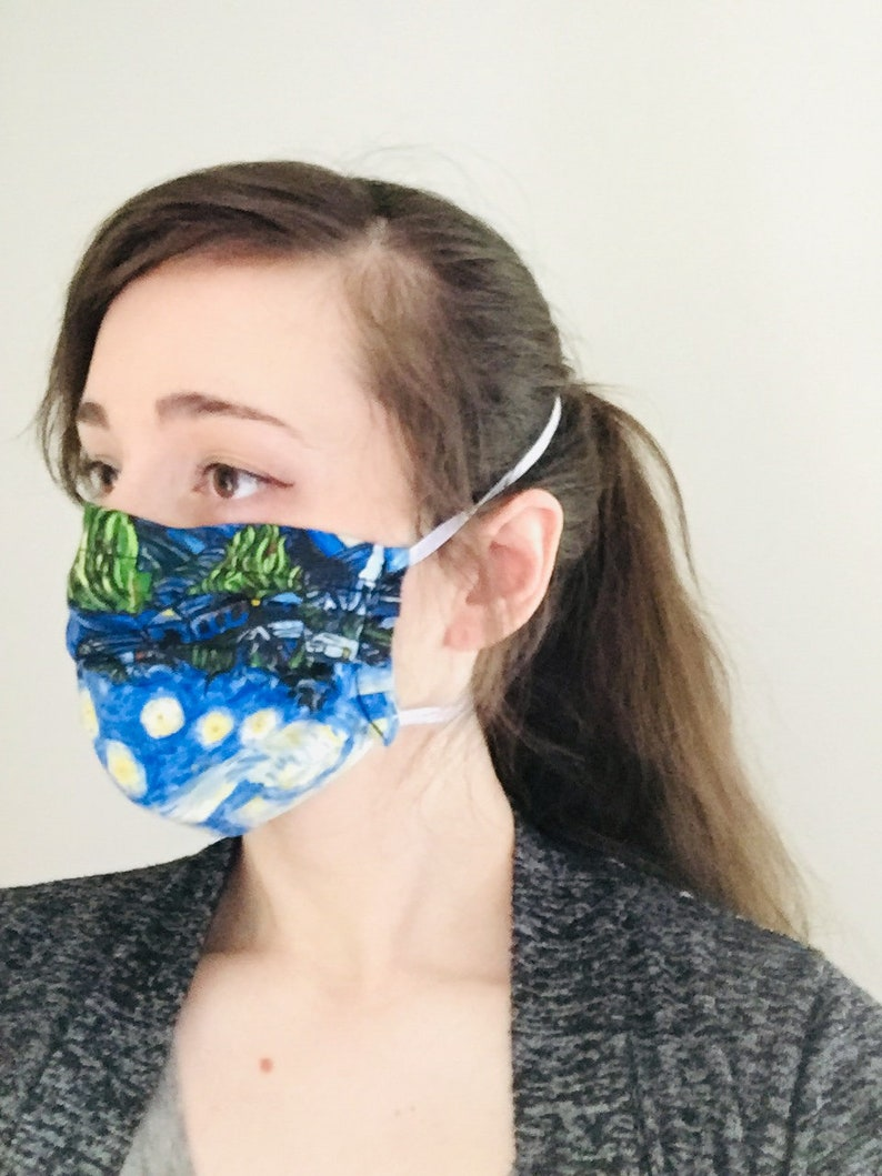 Starry Night 100% Cotton surgical face mask sewn in reusable image 0