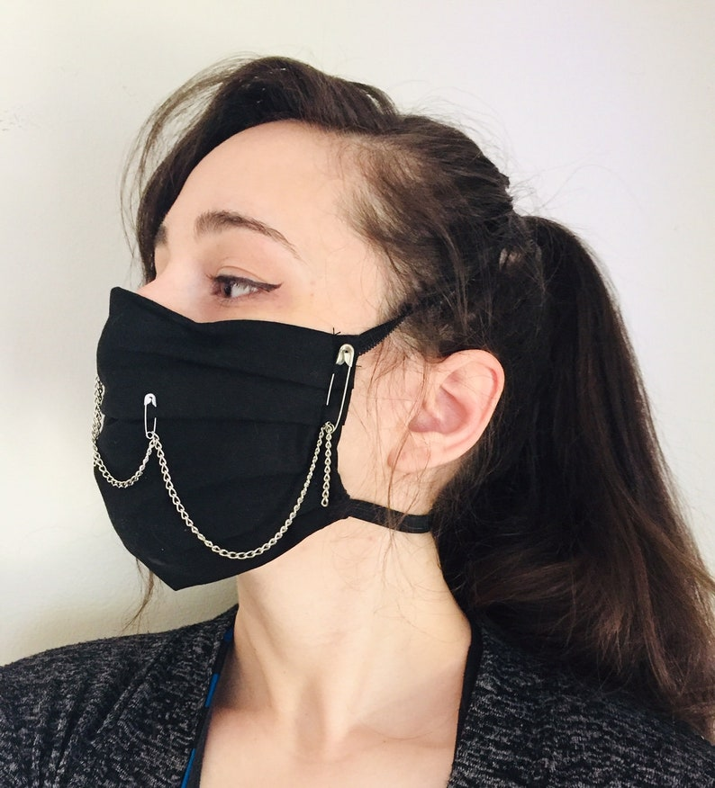 Black Punk with Chains 100% Cotton surgical face mask sewn in image 0