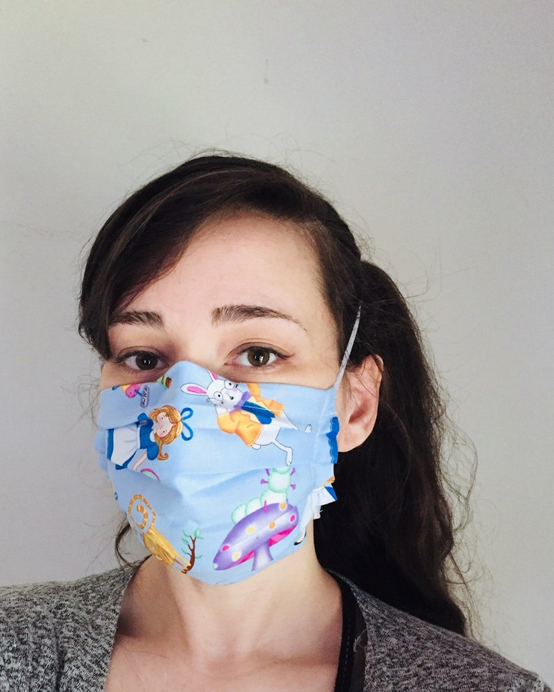 Cartoon Alice in Wonderland 100% Cotton surgical face mask image 0