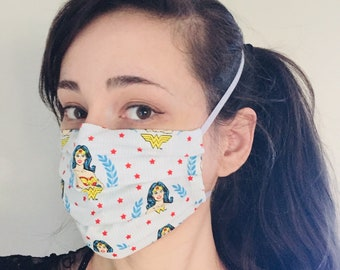 Wonder Woman 100% Cotton surgical face mask sewn in reusable filter pocket FAST SHIPPING! Shipped First class and arrive within a week