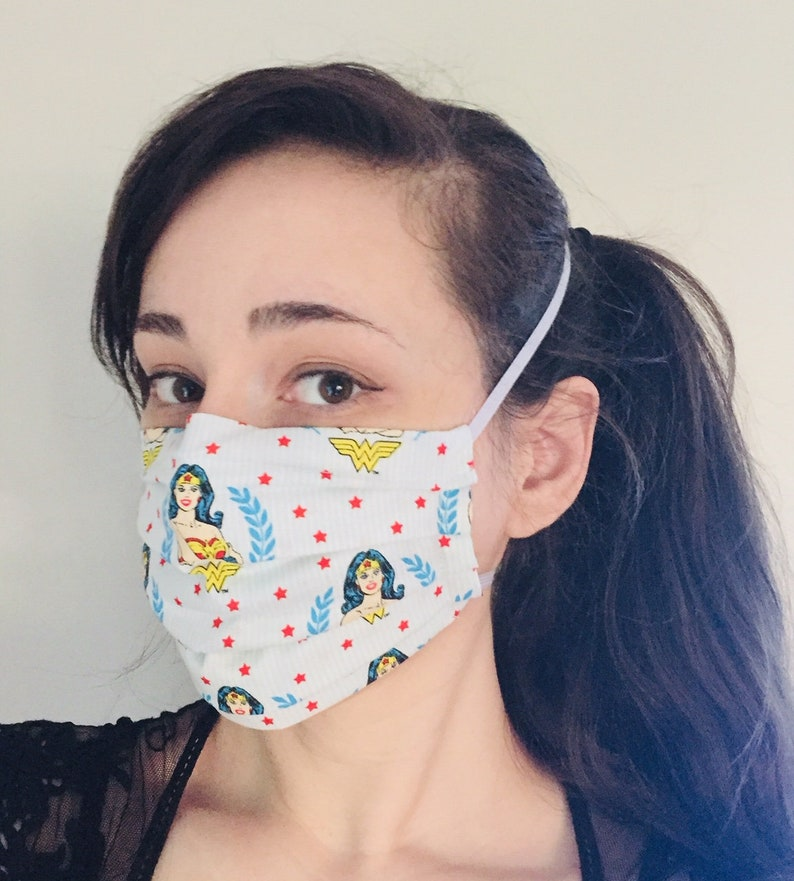 Wonder Woman 100% Cotton surgical face mask sewn in reusable image 0
