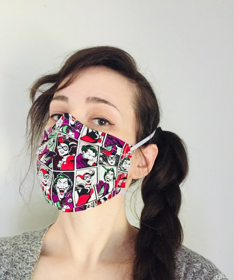 Harley Quinn and The Joker 100% Cotton surgical face mask w/ image 0