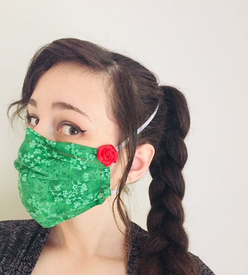 Poison Ivy Inspired 100% Cotton surgical face mask sewn in image 0