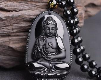 Natural charm fashion Hand-made Obsidian \u201cGuanyin\u201d Buddhism portrait pendant