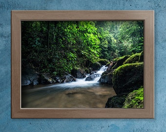 Waterfall Poster, Mantiqueira Mountains Wall Art, Brazil Home Decor, Nature Print, Environment Photography, National Park Photo paper poster