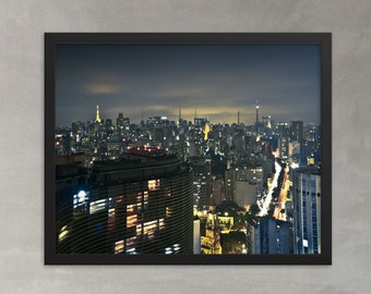 São Paulo at Night Photo Paper Print poster, Brazil Urban Landscape Photo, Copan Building seen from Itália building wall art home decor