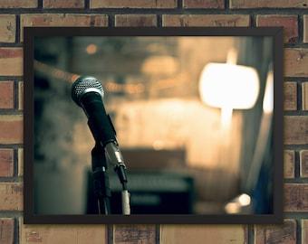 Garage Band Poster, Mic & Lights Photography Wall Art, Urban Hipster Bedroom Home Decor