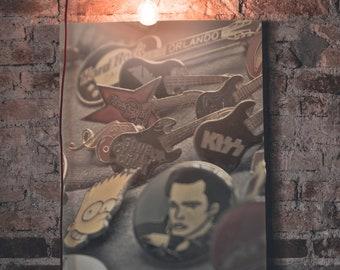 Music Pins Photo paper poster, Collection Wall Art, Urban Vintage Home Decor, Guitar, Elvis, Bart SImpson, Kiss, Fleetwood Mac Pins Print