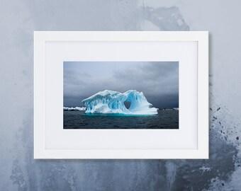 Antarctic Iceberg Framed Poster With Mat, Ocean Iceberg Wall Art, Antarctica Photography Print Home Decor