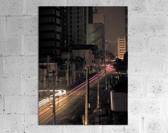 Sao Paulo Photo paper poster, Car Light Painting Print, Brazil Night Street Photography, Urban Wall Art Home Decor Design