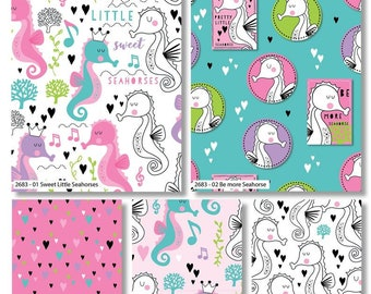 100/% Cotton Pink Sweet little Seahorses
