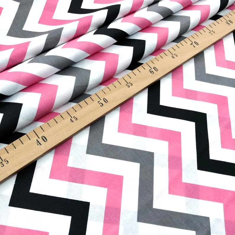Pink-Gray-Black chevron cotton fabric by the yard by the half yard fabric Zigzag print fabric by the meter