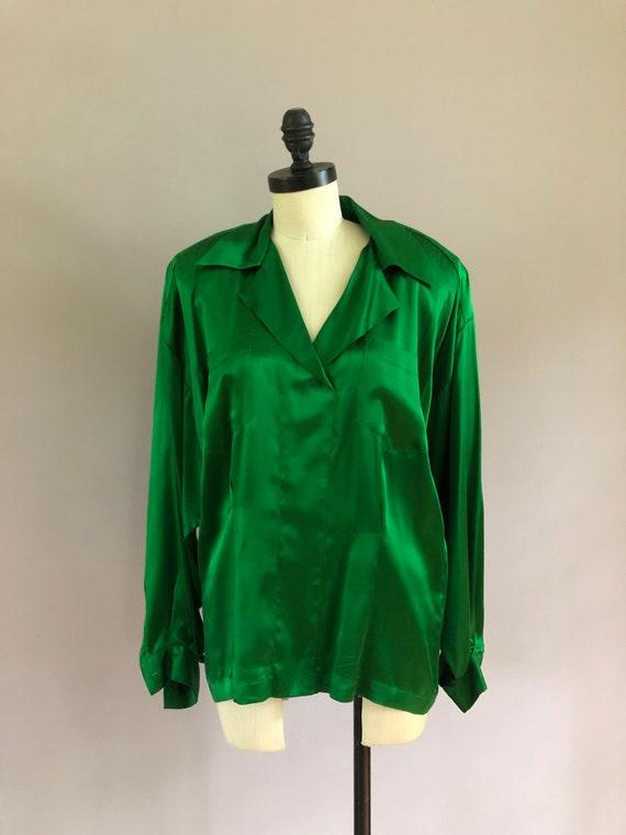Vintage OMO Norma Kamali emerald green silk shirt.