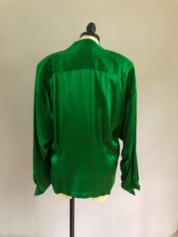 Vintage OMO Norma Kamali emerald green silk shirt… - image 3