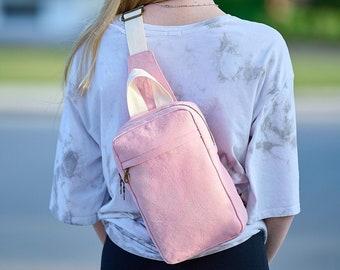 Pink Canvas Backpack, Mini Sling Knapsack for Women or Teens, Floral Purse, Crossbody Travel Bag, Gift for Her