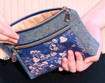 Navy Zipper Pouch, Travel Bag, Essential Pouch, Double Zip Pencil Case, Pouch Plus, Gift for Her
