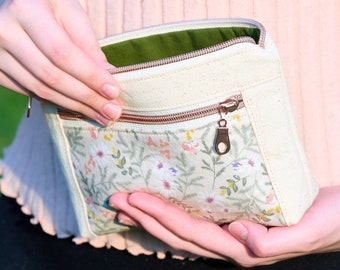 Natural Canvas Floral Zipper Pouch, Travel Bag, Essential Pouch, Double Zip Pencil Case, Pouch Plus, Gift for Her
