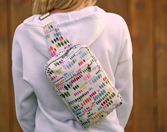 Rainbow Backpack, Mini Sling Knapsack for Women or Teens, Compact Purse, Crossbody Travel Bag, Gift for Her