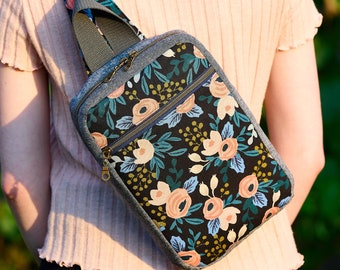 Black Floral Backpack, Mini Sling Knapsack for Women or Teens, Rifle Paper Co Purse, Crossbody Travel Bag, Gift for Her