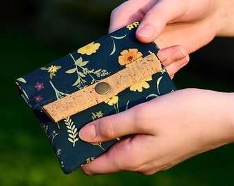Navy Floral Mini Wallet, Fabric & Vegan Cork Credit Card Holder, Small Wallet with Card Slot and Coin Pouch, Gift for Her