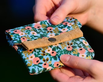 Rosa Chambray Mini Wallet, Rifle Paper Co Fabric & Vegan Cork Credit Card Holder, Small Wallet with Card Slot and Coin Pouch, Gift for Her