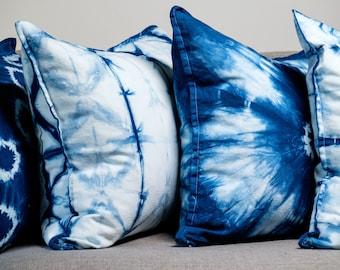 Japanese Indigo Shibori Pillow with Wooden Buttons  Indie Boho Chic Decor