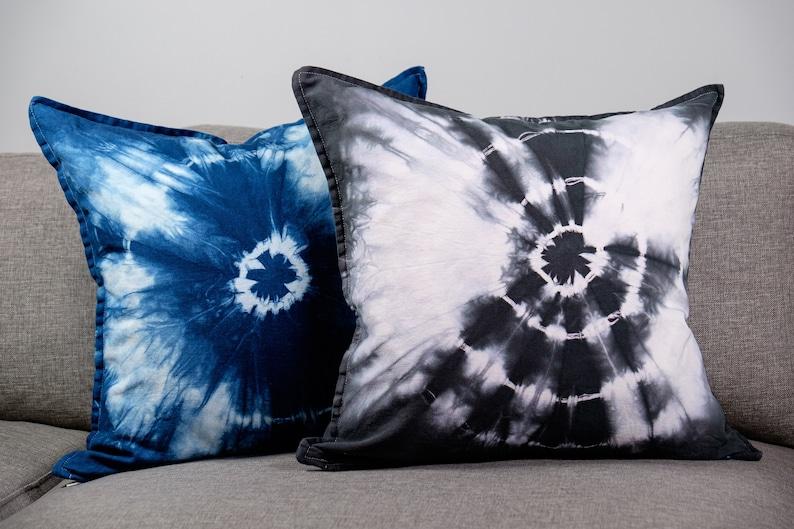 Tie Dye Throw Pillow 20x20 Grey Shibori Pillow Cover Made in Canada Gypsy Bohemian Decor Natural Hand Dyed Sofa Cushion