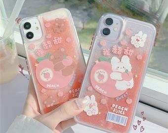 Peach Quicksand Glitter Kawaii Rabbit Bear Animal Fruit Juice Phone Case | iPhone 7 8 Plus 11 12 13 Pro Max Mini X XS Max XR SE 2020