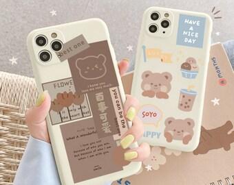 Beige Chocolate Bear Cute Boba Teddy Cartoon Phone Case | Samsung Galaxy S21 Plus S20 S10 S9 S8 S7 Edge A51 A50 A52 A32 A31 A20 Note