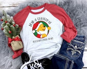 Winnie the Pooh Christmas Raglan, Disney Christmas Shirt, Pooh Christmas Shirt, Christmas Shirt, Holiday Disney Shirt, Winnie the Pooh Shirt
