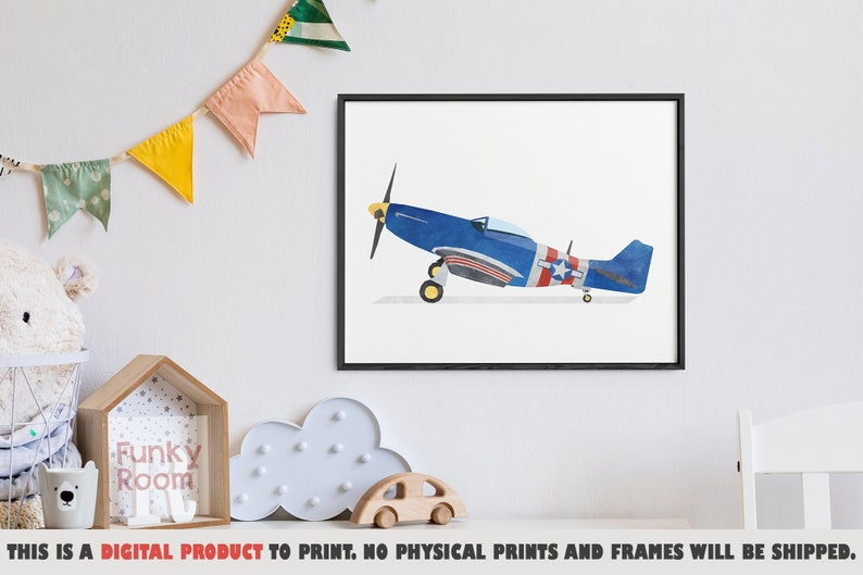 Children Bedroom Transportation Decor Aviation Wall Art Boys Room Plane Art Print Airplane Printable Art Airplane Print Kids Prints