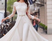 White Bridal prom jumpsuit with cape wedding reception jumpsuit, prom dress jumpsuit,women party jumpsuit, African women jumpsuit
