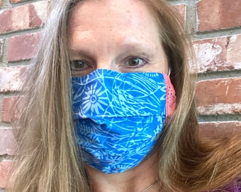 DAISYBLUE 2-Ply Batik Cotton Face Mask with Filter Pocket and Nose Wire