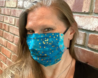 FIREFLY 2-Ply Batik Cotton Face Mask with Filter Pocket and Nose Wire in turquoise with yellow dots