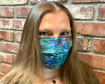 COOKIE MONSTER 2-Ply Batik Cotton Face Mask with Filter Pocket and Nose Wire