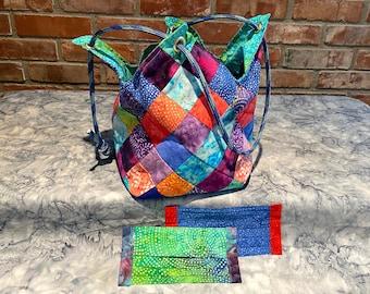 Batik Bucket Bag & Matching Masks in JEWEL colors.  Masks have filter pocket, nose wire, adjustable elastic.