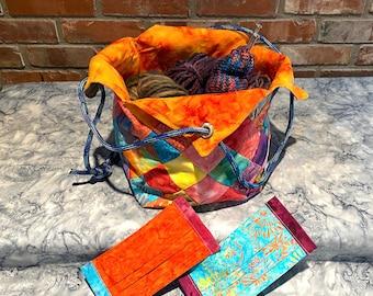 Batik Bucket Bag & Matching Masks in FIRE colors.  Masks have filter pocket, nose wire, adjustable elastic.