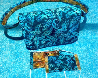 Batik Messenger Bag & Matching Masks in TEALFEATHER / AUTUMNFEATHER quilting cotton, with filter pocket, nose wire, adjustable elastic
