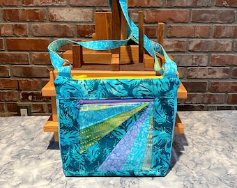 """Julicita Rainbow Crossbody Bag """"Tealfeather"""" in turquoise, blues, greens, and lavender with radial array accent panel"""
