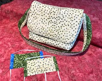 Batik Messenger Bag & Matching Masks in SHADOWDOT / GREENSPROUT quilting cotton, with filter pocket, nose wire, adjustable elastic