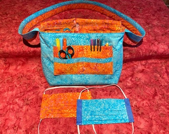 Batik Messenger Bag & Matching Masks in BABYBIRD / DRAGONFIRE quilting cotton, with filter pocket, nose wire, adjustable elastic