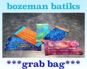 GRAB BAG! Five Batik Face Masks with 2 Layers Fine Cotton, Filter Pocket, Nose Wire, and Adjustable Elastic -- Choose your Colors!