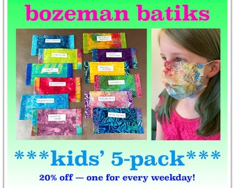 KIDS' PACK! Five Kids' Batik Face Masks with 2 Ply Cotton, Filter Pocket, Nose Wire, Adjustable Elastic -- Choose your Colors!