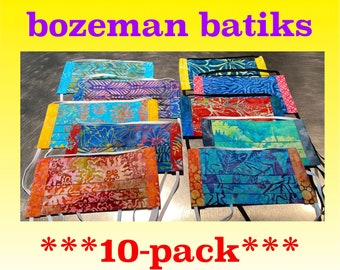 TEN-PACK!  10 Masks -- Choose Your Colors -- 2 Layers Quilters Cotton with Nose Wire and Filter Pocket