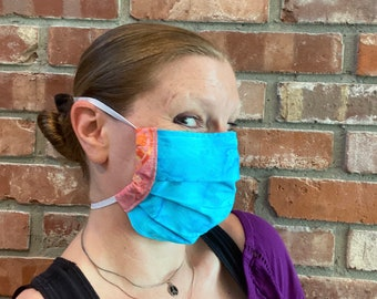 AQUA DREAM Batik Double Layer Cotton Face Mask with Filter Pocket and Nose Wire in Tie Dye style