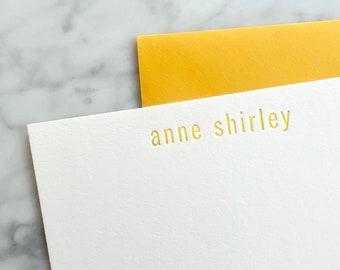 Letterpress Personalized Stationery Set   Notecards, Monogram, Modern, Classic, Semi Custom, A2, Envelopes, Return Address, Colored